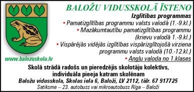 Baložu vidusskola reklāma Latvijas pašvaldību amatpersonu un politiķu kontaktinformācijas katalogā