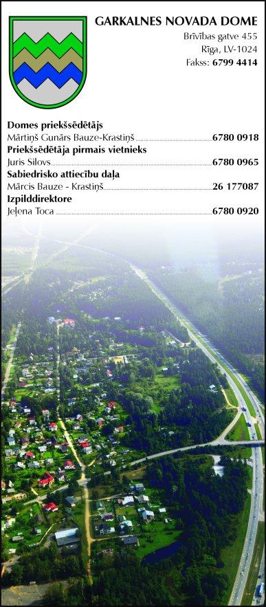 Garkalnes novada pašvaldība reklāma Latvijas pašvaldību amatpersonu un politiķu kontaktinformācijas katalogā