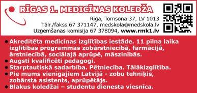 Rīgas 1. medicīnas koledža reklāma Latvijas pašvaldību amatpersonu un politiķu kontaktinformācijas katalogā