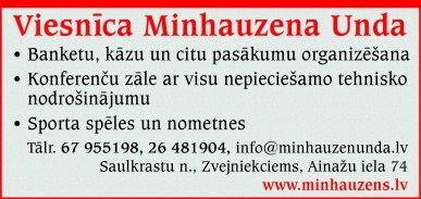 """""""Munda"""", SIA, Viesnīca reklāma Latvijas pašvaldību amatpersonu un politiķu kontaktinformācijas katalogā"""