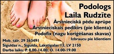 Rudzīte L., ārstnieciskās podiatrijas speciāliste reklāma Latvijas pašvaldību amatpersonu un politiķu kontaktinformācijas katalogā