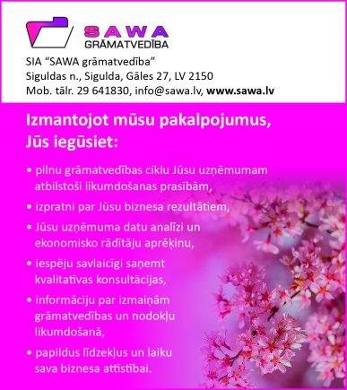 """""""SAWA grāmatvedība"""", SIA reklāma Latvijas pašvaldību amatpersonu un politiķu kontaktinformācijas katalogā"""