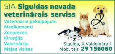"""""""Siguldas novada veterinārais serviss"""", SIA, Aptieka-klīnika reklāma Latvijas pašvaldību amatpersonu un politiķu kontaktinformācijas katalogā"""