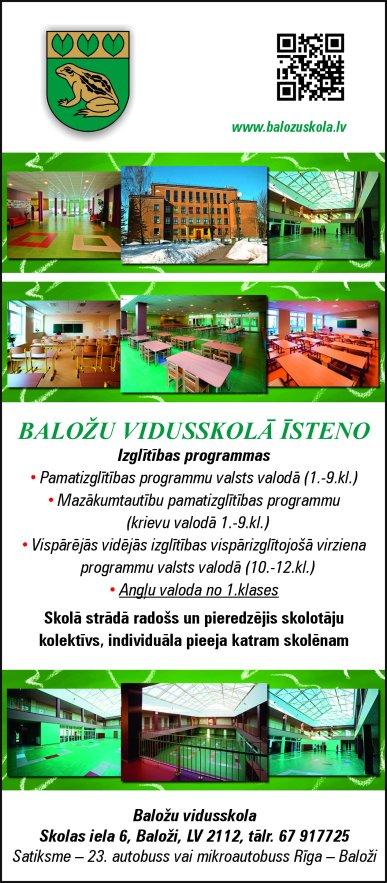 Baložu vidusskola reklāma Rīgas domes amatpersonu un politiķu kontaktinformācijas katalogā