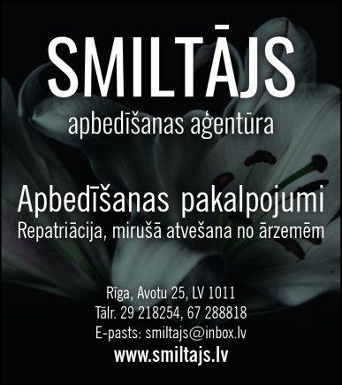 """""""Smiltājs"""", apbedīšanas pakalpojumu birojs reklāma Latvijas pašvaldību amatpersonu un politiķu kontaktinformācijas katalogā"""