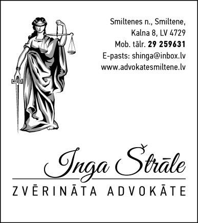 Štrāle I., individuāli praktizējoša zvērināta advokāte reklāma Latvijas pašvaldību amatpersonu un politiķu kontaktinformācijas katalogā