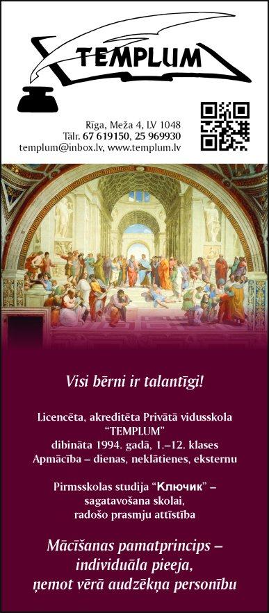"""""""Templum"""", SIA, Privātskola reklāma Latvijas pašvaldību amatpersonu un politiķu kontaktinformācijas katalogā"""