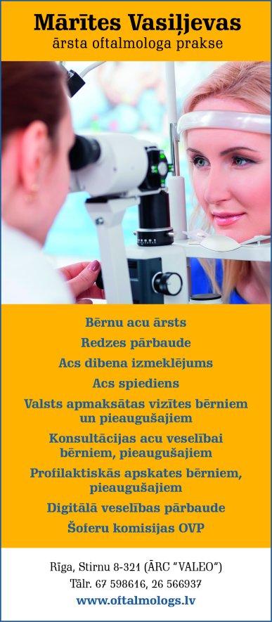 Vasiļjevas M. ārsta oftalmologa prakse reklāma Latvijas pašvaldību amatpersonu un politiķu kontaktinformācijas katalogā