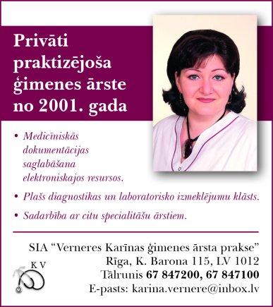 """""""Verneres Karīnas ģimenes ārsta prakse"""", SIA reklāma Latvijas pašvaldību amatpersonu un politiķu kontaktinformācijas katalogā"""