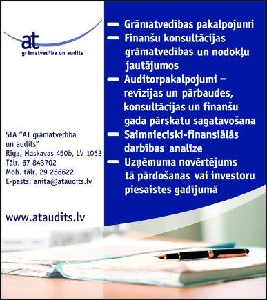 """""""AT grāmatvedība un audits"""", SIA reklāma Rīgas domes amatpersonu un politiķu kontaktinformācijas katalogā"""
