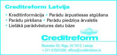 """""""Creditreform Latvija"""", SIA reklāma Latvijas pašvaldību amatpersonu un politiķu kontaktinformācijas katalogā"""