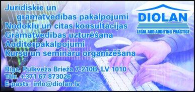 """""""Diolan"""", SIA reklāma Latvijas pašvaldību amatpersonu un politiķu kontaktinformācijas katalogā"""