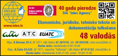 """""""Inlex Agency"""", SIA reklāma Rīgas domes amatpersonu un politiķu kontaktinformācijas katalogā"""