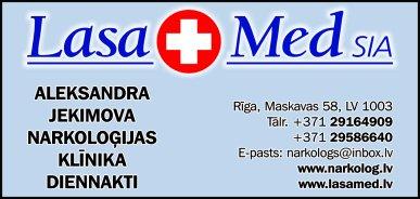 """""""Lasa Med"""", SIA, Medicīnas centrs reklāma Latvijas pašvaldību amatpersonu un politiķu kontaktinformācijas katalogā"""
