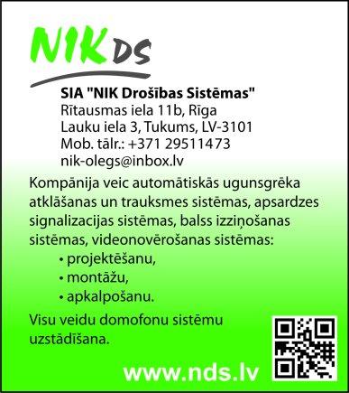 """""""NIK Drošības Sistēmas"""", SIA reklāma Rīgas domes amatpersonu un politiķu kontaktinformācijas katalogā"""