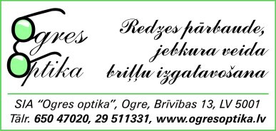 """""""Ogres optika"""", SIA reklāma Latvijas pašvaldību amatpersonu un politiķu kontaktinformācijas katalogā"""