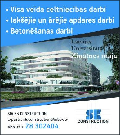 """""""SK Construction"""", SIA reklāma Latvijas pašvaldību amatpersonu un politiķu kontaktinformācijas katalogā"""