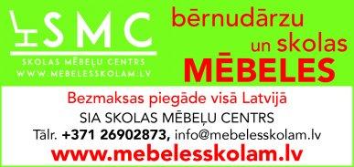 """""""Skolas mēbeļu centrs"""", SIA reklāma Latvijas pašvaldību amatpersonu un politiķu kontaktinformācijas katalogā"""