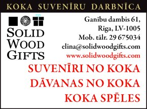 """""""Solid Wood Gifts"""" reklāma Rīgas domes amatpersonu un politiķu kontaktinformācijas katalogā"""