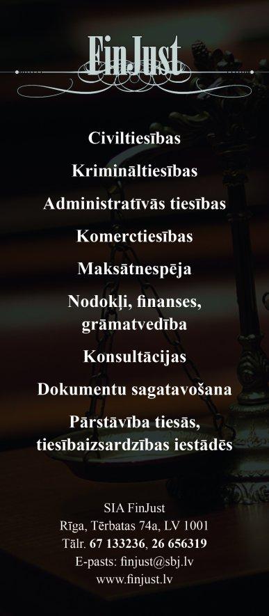 """""""FinJust"""", SIA reklāma Rīgas domes amatpersonu un politiķu kontaktinformācijas katalogā"""