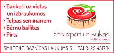 """""""Trīs pipari un kūkas"""", kafejnīca reklāma Rīgas domes amatpersonu un politiķu kontaktinformācijas katalogā"""