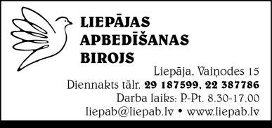 """""""Liepājas apbedīšanas birojs"""", SIA reklāma Rīgas domes amatpersonu un politiķu kontaktinformācijas katalogā"""