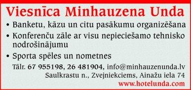 """""""Minhauzena Unda"""", SIA, Viesnīca reklāma Rīgas domes amatpersonu un politiķu kontaktinformācijas katalogā"""