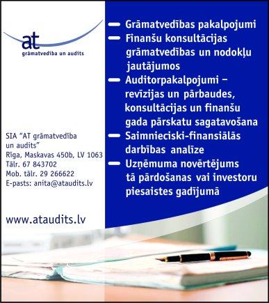 """""""AT grāmatvedība un audits"""", SIA reklāma Saeimas un Valdības amatpersonu un politiķu kontaktinformācijas katalogā"""
