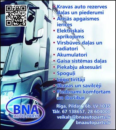 """""""BNA auto parts"""", SIA reklāma Saeimas un Valdības amatpersonu un politiķu kontaktinformācijas katalogā"""