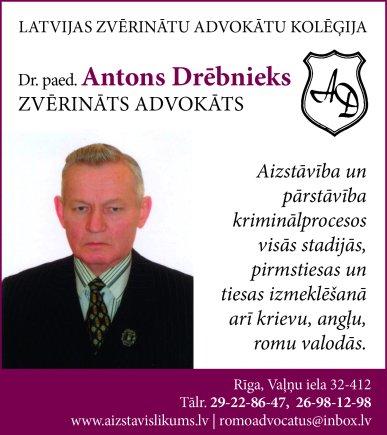 Drēbnieks A., individuāli praktizējošs zvērināts advokāts reklāma Saeimas un Valdības amatpersonu un politiķu kontaktinformācijas katalogā