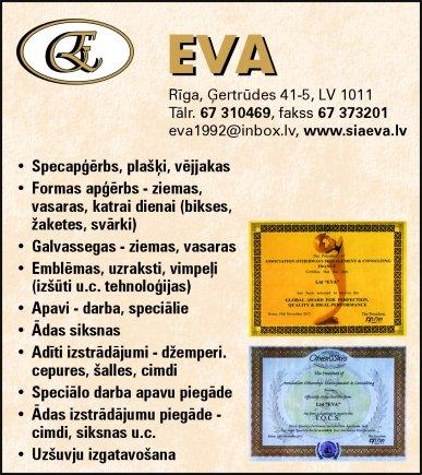 """""""Eva"""", SIA reklāma Saeimas un Valdības amatpersonu un politiķu kontaktinformācijas katalogā"""