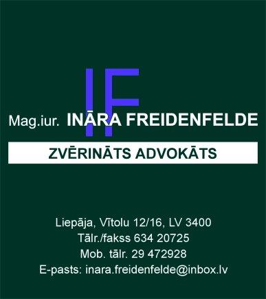 Freidenfelde I., individuāli praktizējoša zvērināta advokāte reklāma Saeimas un Valdības amatpersonu un politiķu kontaktinformācijas katalogā