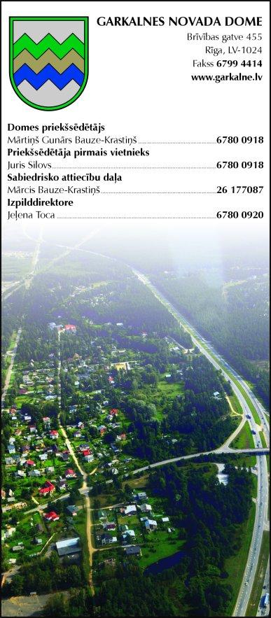 Garkalnes novada pašvaldība reklāma Saeimas un Valdības amatpersonu un politiķu kontaktinformācijas katalogā
