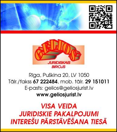 """""""Juridiskais birojs Gelios"""", SIA reklāma Saeimas un Valdības amatpersonu un politiķu kontaktinformācijas katalogā"""