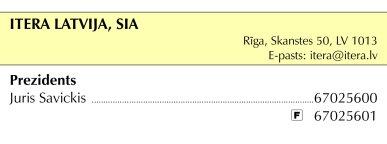 """""""Itera Latvija"""", SIA reklāma Saeimas un Valdības amatpersonu un politiķu kontaktinformācijas katalogā"""
