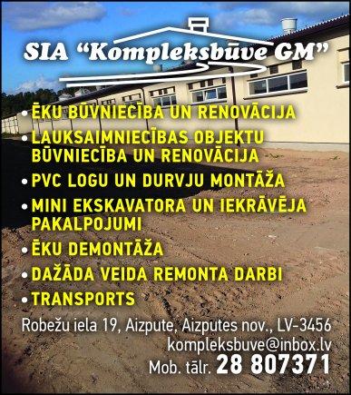 """""""Kompleksbūve GM"""", SIA reklāma Saeimas un Valdības amatpersonu un politiķu kontaktinformācijas katalogā"""