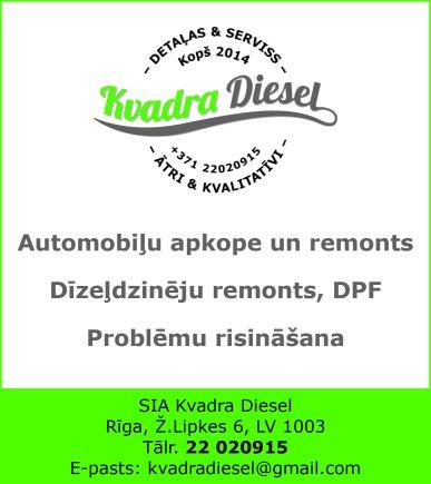 """""""Kvadra Diesel"""", SIA reklāma Saeimas un Valdības amatpersonu un politiķu kontaktinformācijas katalogā"""