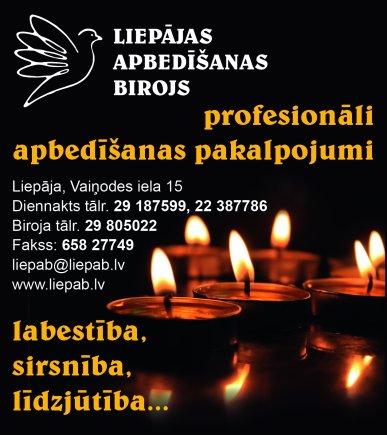 """""""Liepājas apbedīšanas birojs"""", SIA reklāma Saeimas un Valdības amatpersonu un politiķu kontaktinformācijas katalogā"""