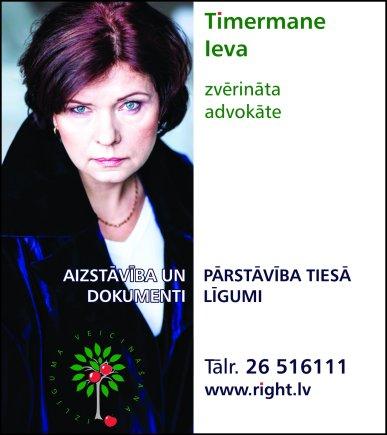 Timermane I.,  individuāli praktizējoša zvērināta advokāte reklāma Saeimas un Valdības amatpersonu un politiķu kontaktinformācijas katalogā