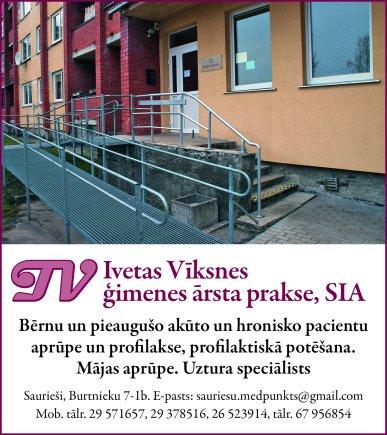 """""""Ivetas Vīksnes ģimenes ārsta prakse"""", SIA reklāma Saeimas un Valdības amatpersonu un politiķu kontaktinformācijas katalogā"""