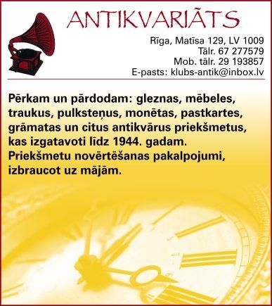 """""""Antik Linda"""", SIA, Antikvariāts reklāma Saeimas un Valdības amatpersonu un politiķu kontaktinformācijas katalogā"""