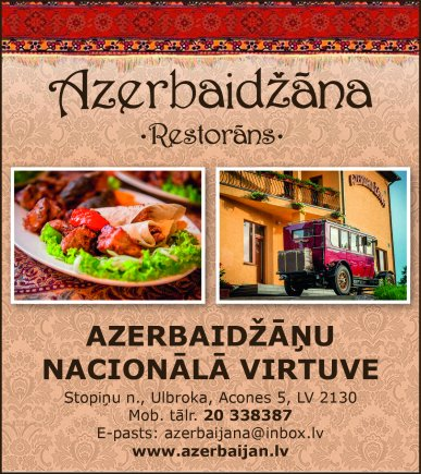 """""""Azerbaidžāna"""", restorāns reklāma Saeimas un Valdības amatpersonu un politiķu kontaktinformācijas katalogā"""