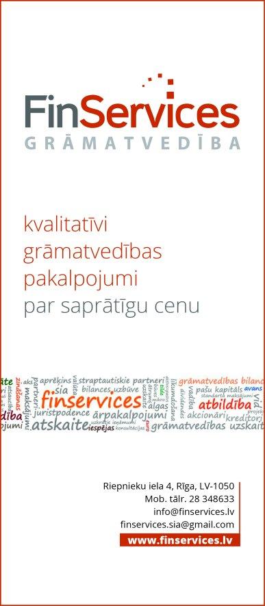 """""""Finservices"""", SIA reklāma Saeimas un Valdības amatpersonu un politiķu kontaktinformācijas katalogā"""