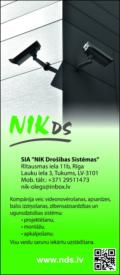"""""""NIK Drošības Sistēmas"""", SIA reklāma Saeimas un Valdības amatpersonu un politiķu kontaktinformācijas katalogā"""