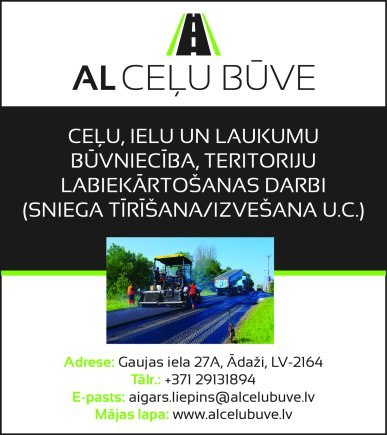 """""""AL Ceļu Būve"""", SIA reklāma Saeimas un Valdības amatpersonu un politiķu kontaktinformācijas katalogā"""