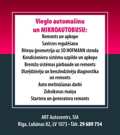 """""""ART Autocentrs"""", SIA reklāma Saeimas un Valdības amatpersonu un politiķu kontaktinformācijas katalogā"""