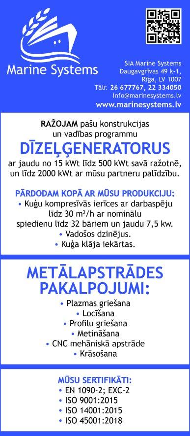 """""""Marine Systems"""", SIA reklāma Saeimas un Valdības amatpersonu un politiķu kontaktinformācijas katalogā"""