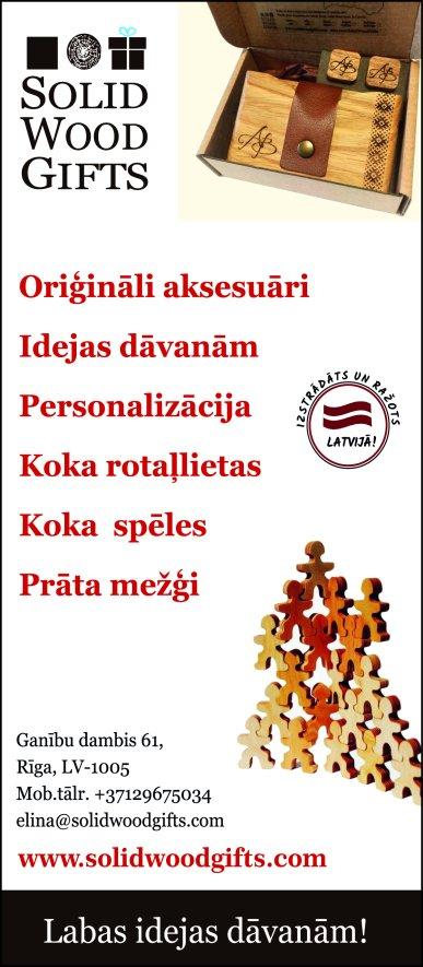 """""""Solid Wood Gifts"""" reklāma Saeimas un Valdības amatpersonu un politiķu kontaktinformācijas katalogā"""
